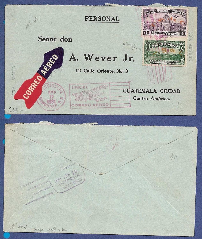HONDURAS air cover 1931 Tegucigalpa to Guatemala