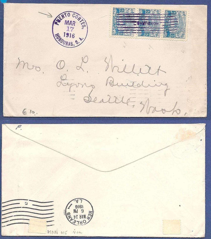 HONDURAS cover 1916 Puerto Cortes to USA