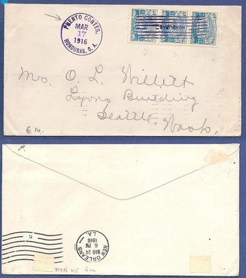 HONDURAS cover 1916 Puerto Cortes to USA