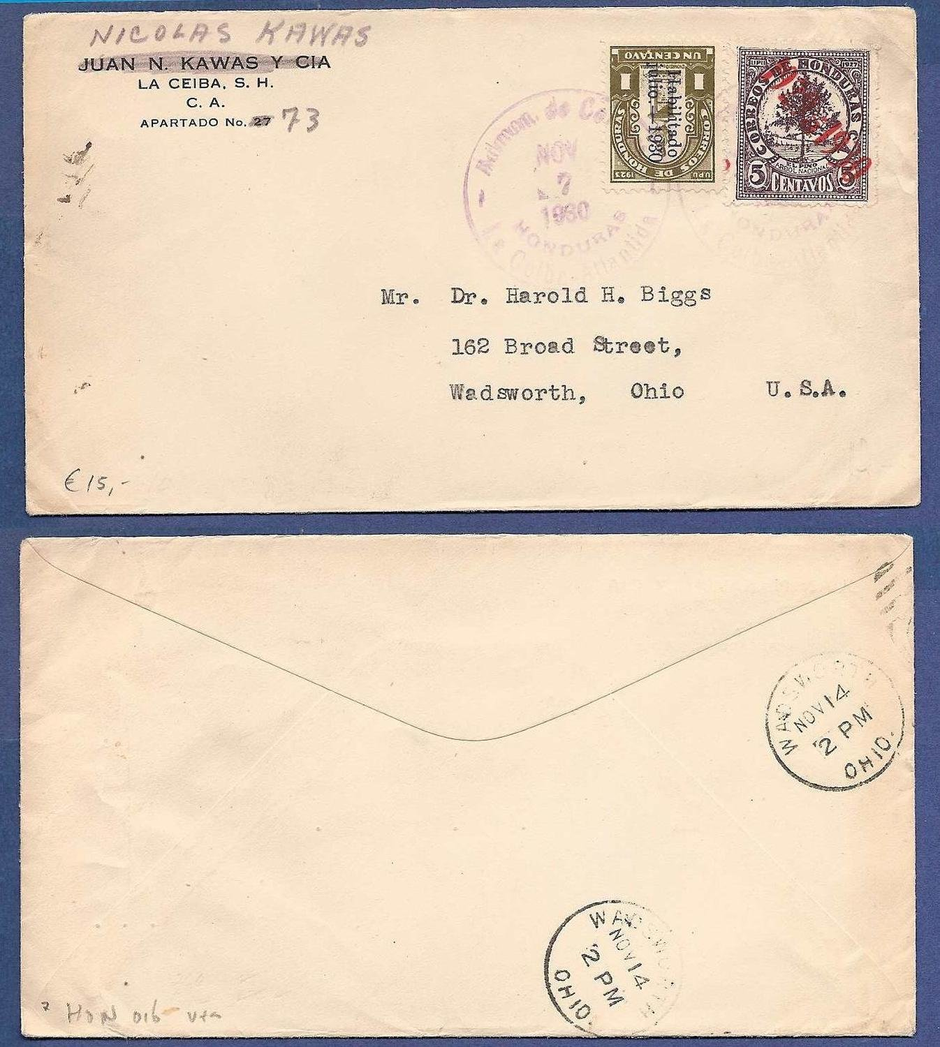 HONDURAS cover 1930 La Ceiba to USA
