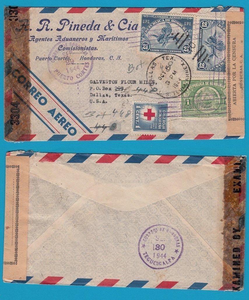 HONDURAS double censored air cover 1944 Puerto Cortes to USA