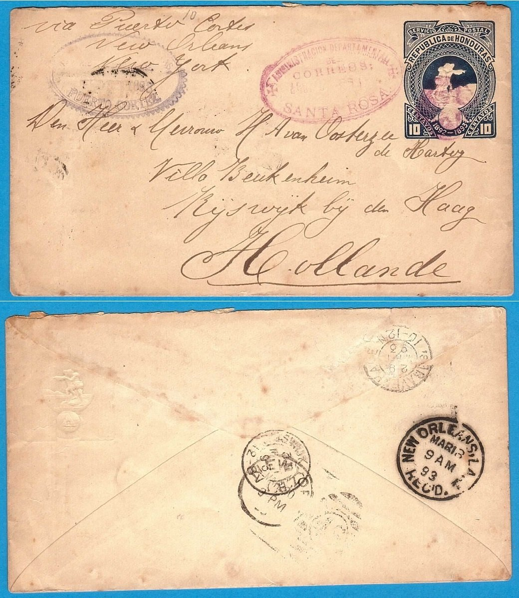 HONDURAS postal envelope 1893 Sta Rosa to Netherlands