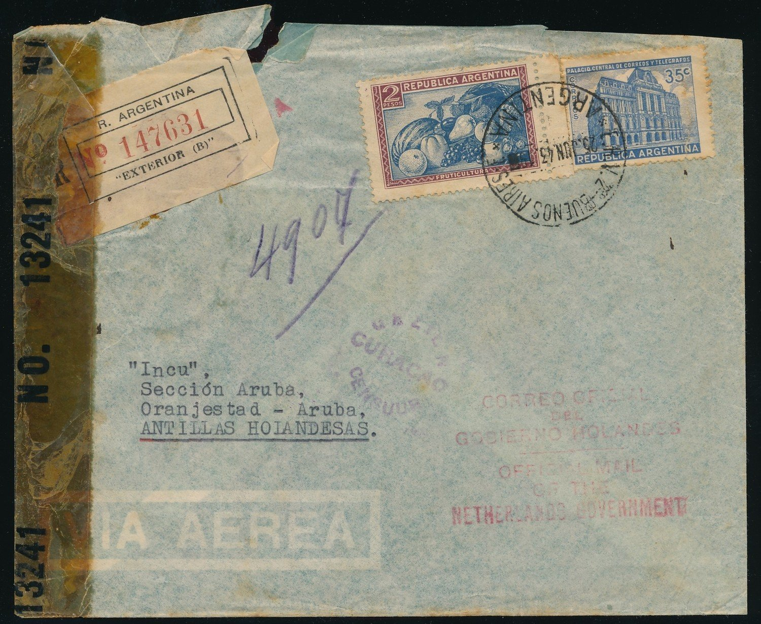 ARGENTINA R air censor cover 1943 to Aruba