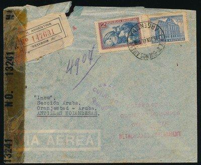 ARGENTINA R air censor cover 1943 to Aruba