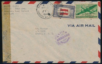 USA censored air cover 1944 NY to Aruba