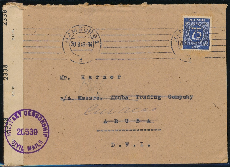 GERMANY censored cover 1946 Hamburg to Aruba