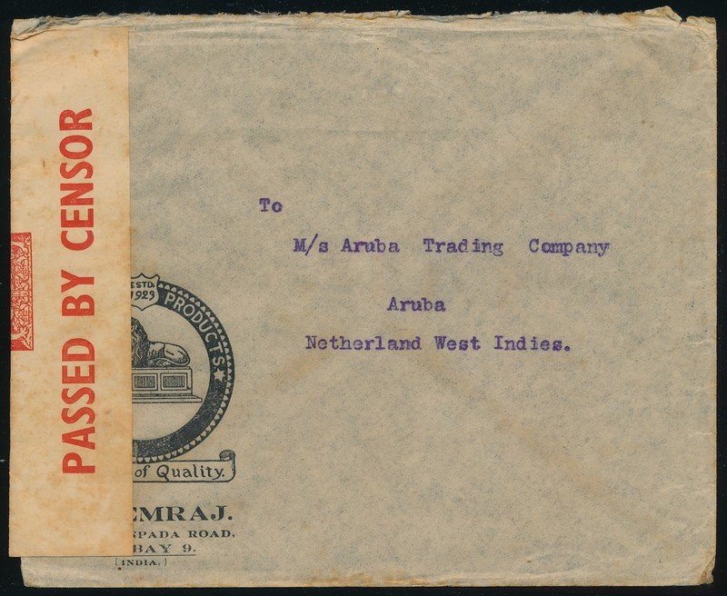 INDIA censored air cover 1940 Bombay to Aruba