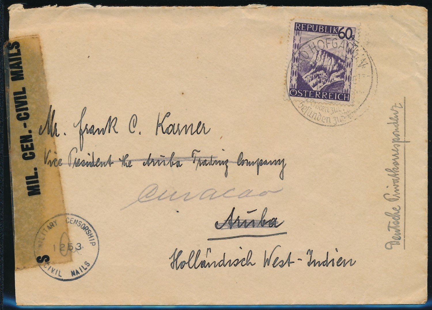 AUSTRIA censored cover 1946 Wien to Aruba