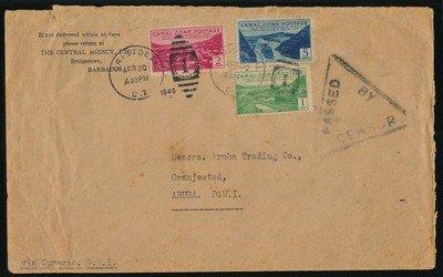 CANAL ZONE censored cover 1940 to Aruba