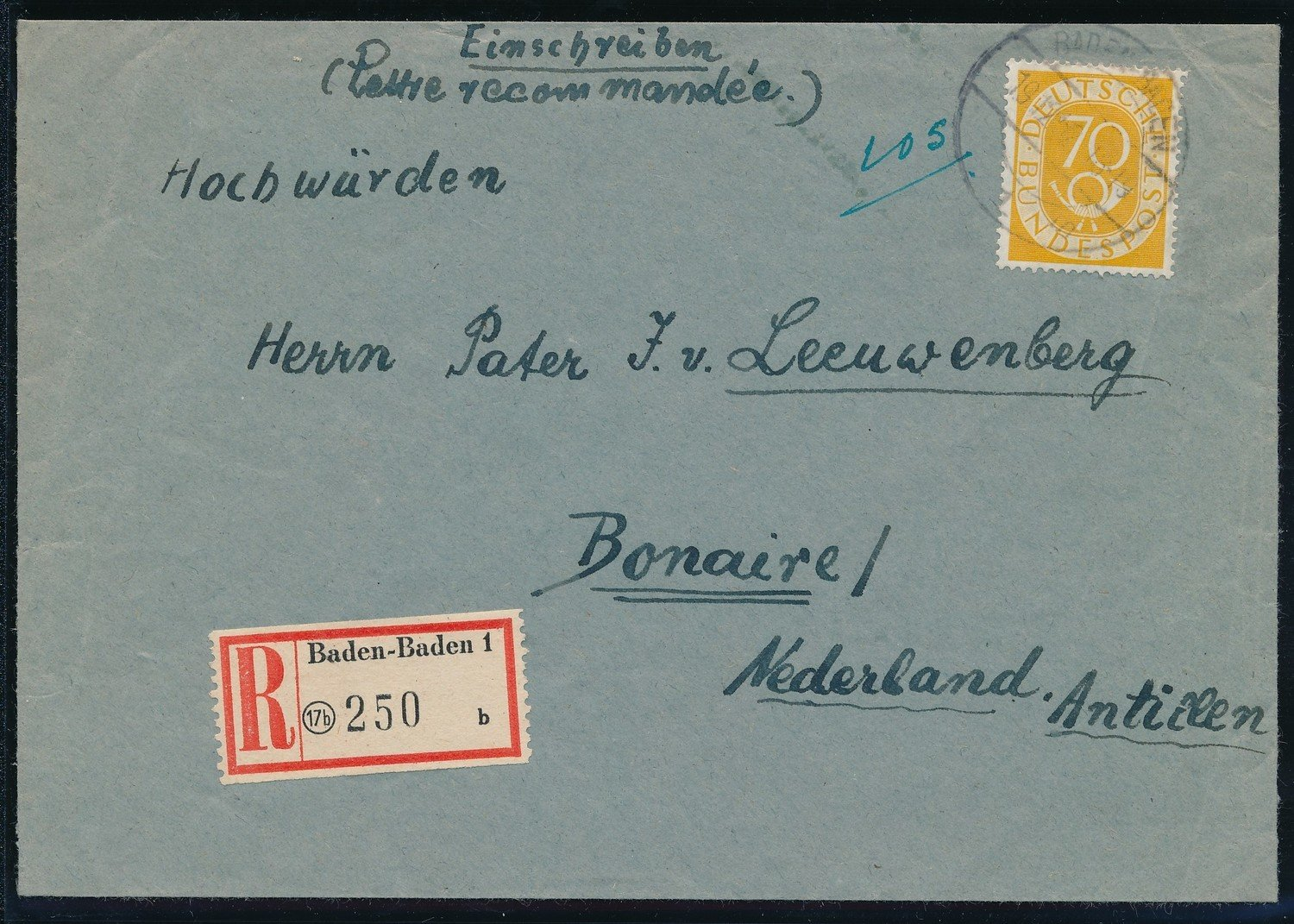 GERMANY R cover 1952 to Bonaire