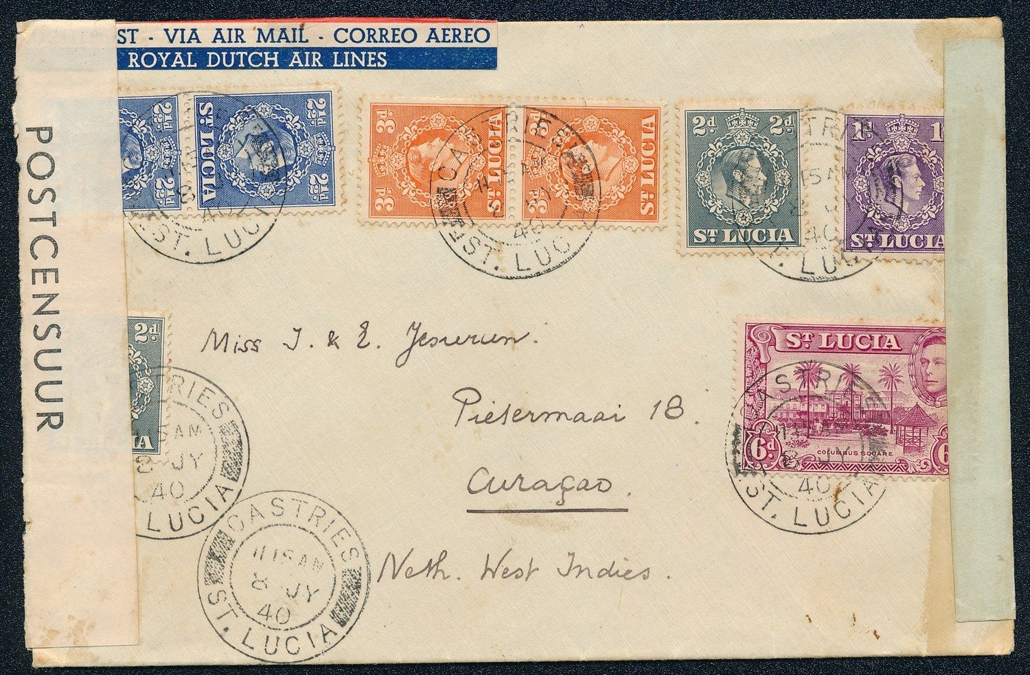 ST LUCIA air censored cover 1940 to Curaçao