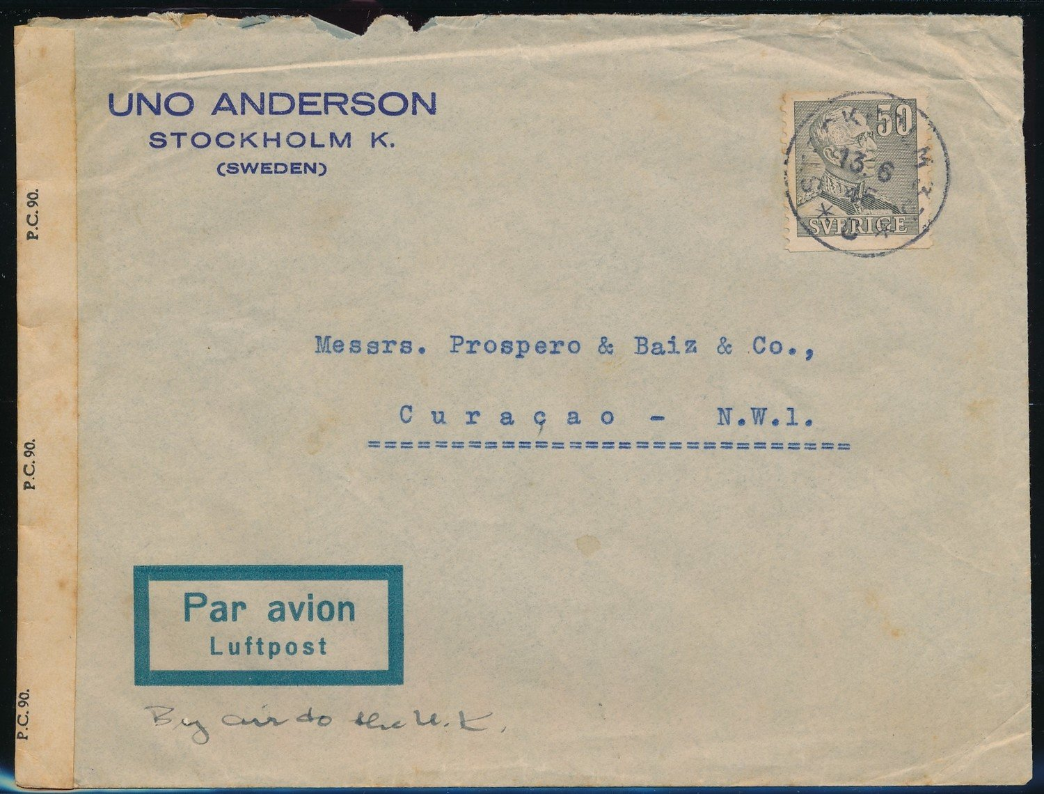 SWEDEN censored airmail cover 1945 to Curaçao