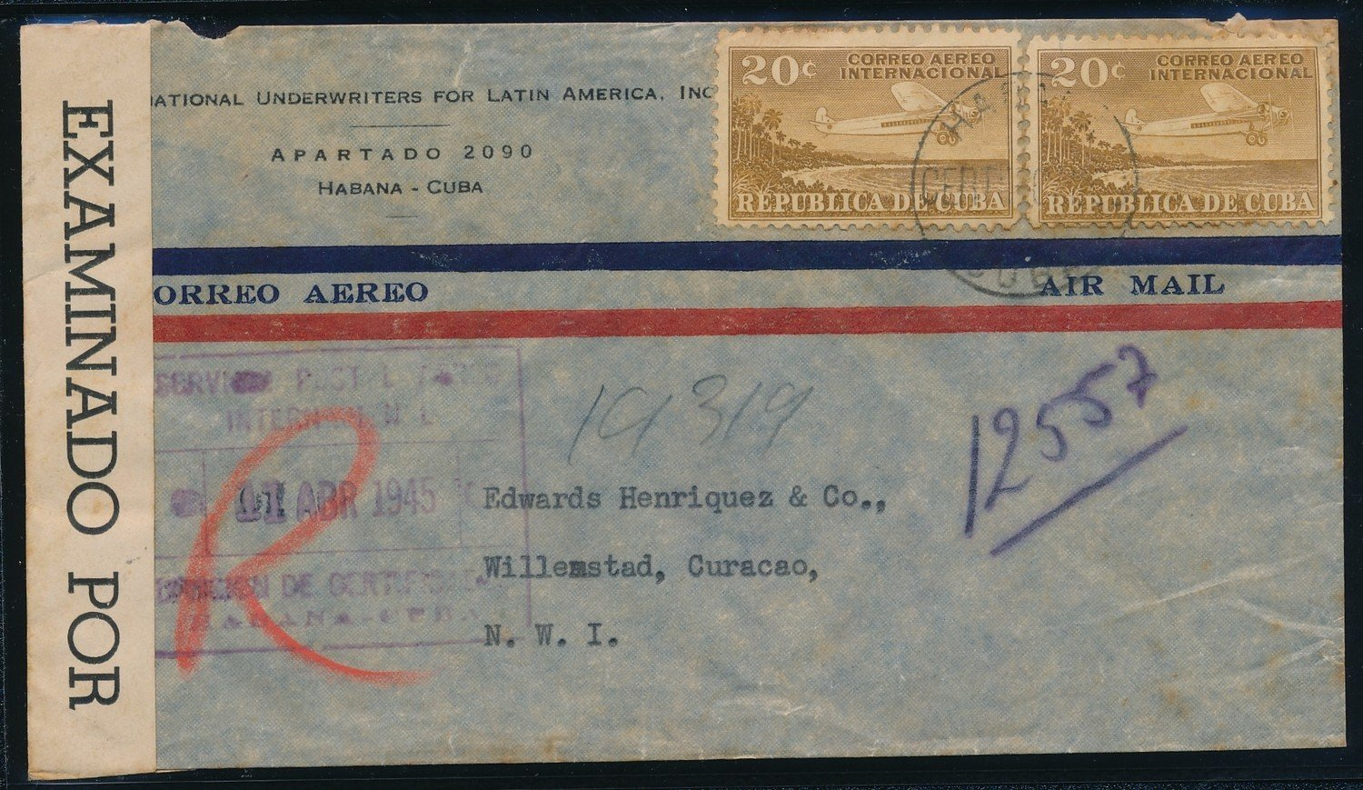 CUBA censored R air cover 1945 to Curaçao