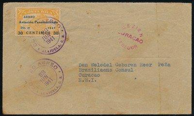 COSTA RICA censored air cover 1941 Alajuela to Curaçao