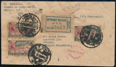 MEXICO R airmail cover 1941 to Curaçao