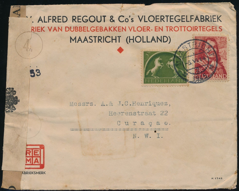 NEDERLAND brief 1945 Maastricht naar Curaçao