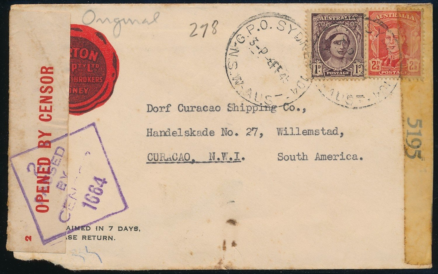AUSTRALIA censored cover 1945 to Curaçao
