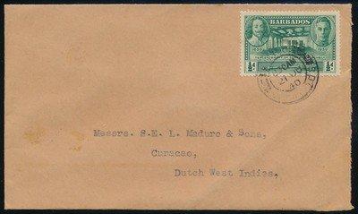 BARBADOS censored cover 1940 to Curaçao