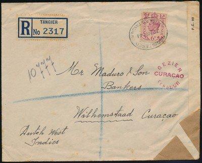 TANGIER censored R cover 1941 to Curaçao