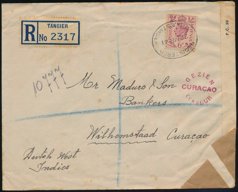 TANGIER censored R cover 1941 to Curaçao