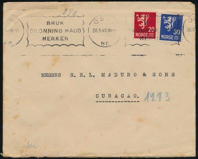 NORWAY censored cover 1940 Oslo to Curaçao