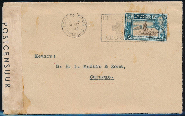 TRINIDAD censored cover 1940 to Curaçao