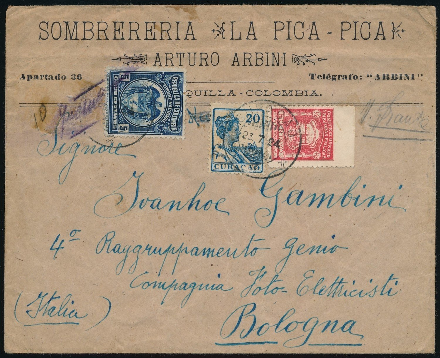 CURAÇAO cover 1924 from Colombia uprated to Italy