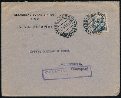 SPAIN censored cover 1939 Vigo to Curaçao