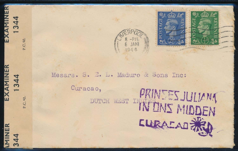 ENGLAND censored cover 1944 Liverpool to Cuaçao