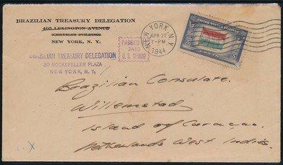 USA censored consular cover 1944 to Curaçao