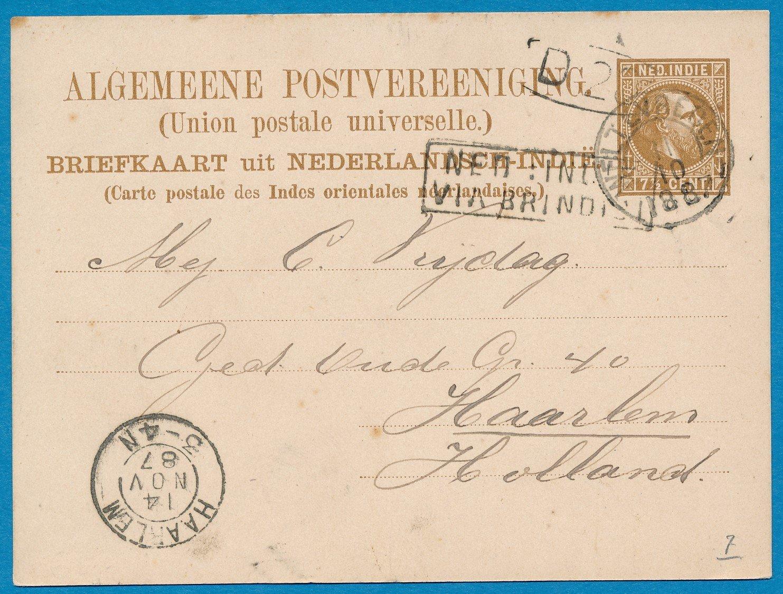 NETHERLANDS EAST INDIES postal card 1887 Weltevreden