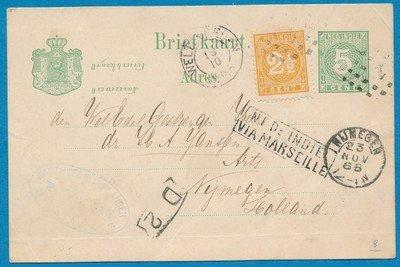 NETHERLANDS EAST INDIES postal card 1888 Weltevreden dot cancel 1