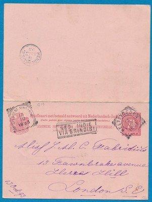 NETHERLANDS EAST INDIES postal card with reply 1893 Weltevreden