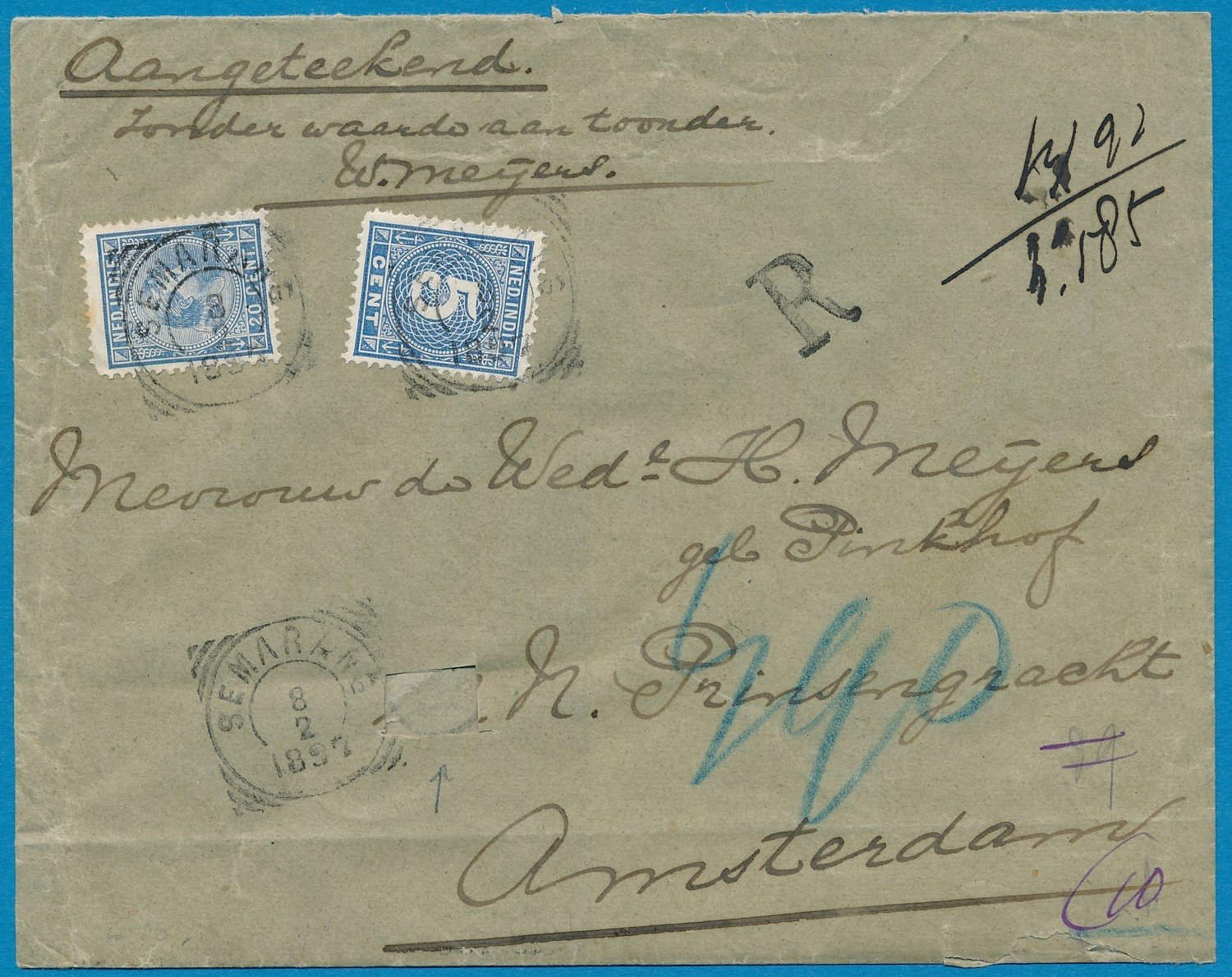 NETHERLANDS EAST INDIES R cover 1897 Semarang to Amsterdam