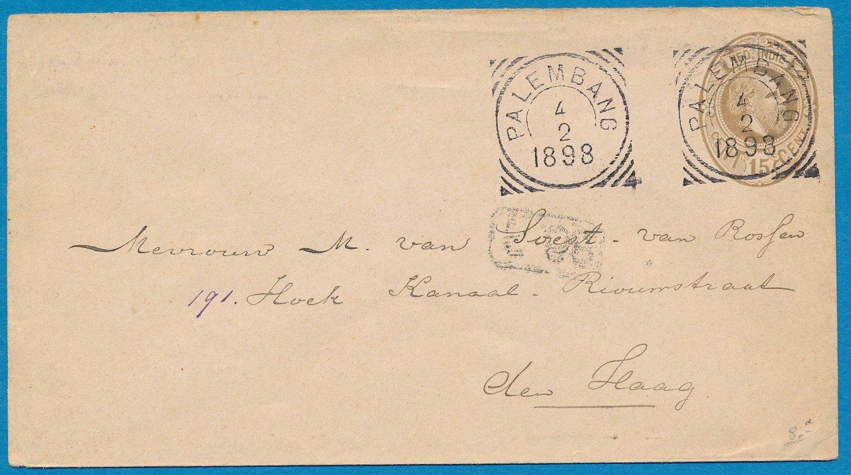 NETHERLANDS EAST INDIES envelope 1899 Palembang