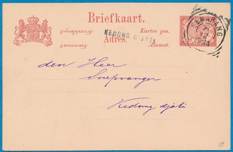 NETHERLANDS EAST INDIES postal card 1904 Kedong Diatti