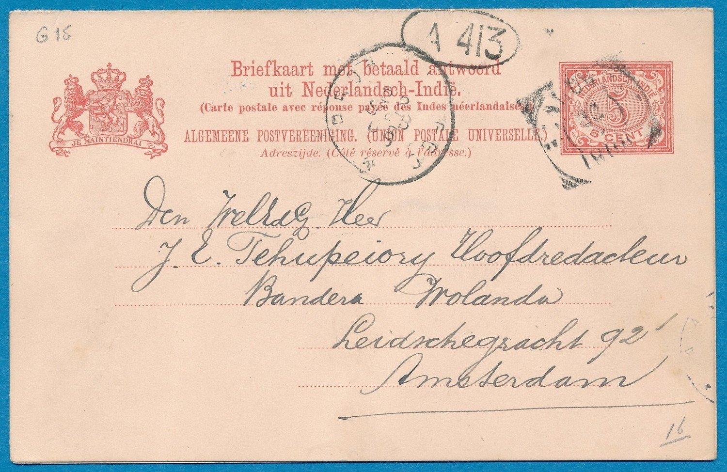 NETHERLANDS EAST INDIES postal card with reply 1908 Tjoerahdami