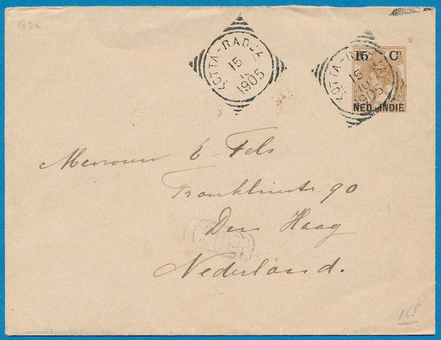 NETHERLANDS EAST INDIES envelope 1905 Kata Radja