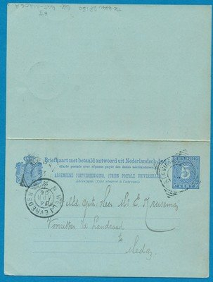 NETHERLANDS EAST INDIES postal card with reply 1906 traincancel