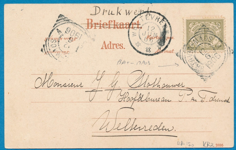 NETHERLANDS EAST INDIES card 1906 traincancel Batavia-Maos A