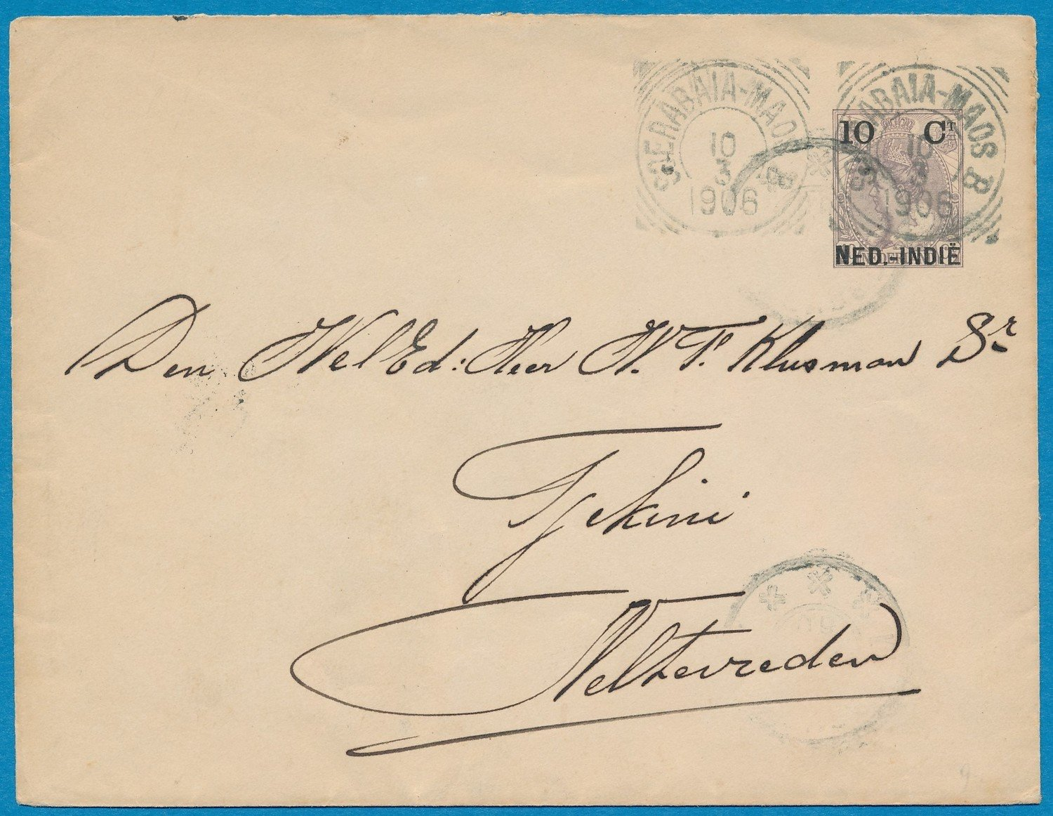 NETHERLANDS EAST INDIES envelope 1906 traincancel
