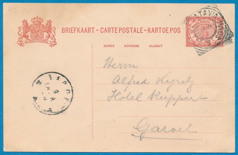 NETHERLANDS EAST INDIES card 1908 traincancel Batavia-Maos A