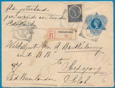NETHERLANDS EAST INDIES R envelope 1908 Soekaboemi to Solok