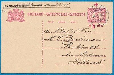 NETHERLANDS EAST INDIES card 1916 Tjibeber to Netherlands