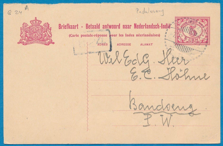 NETHERLANDS EAST INDIES reply card 1919 Padalarang