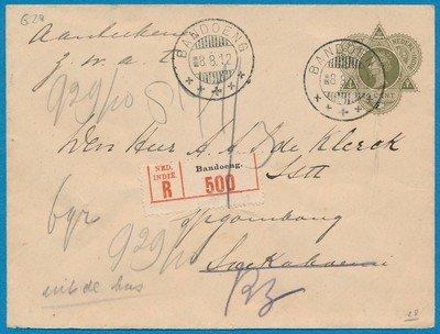 NETHERLANDS EAST INDIES R envelope 1912 Bandoeng to Soekaboemi