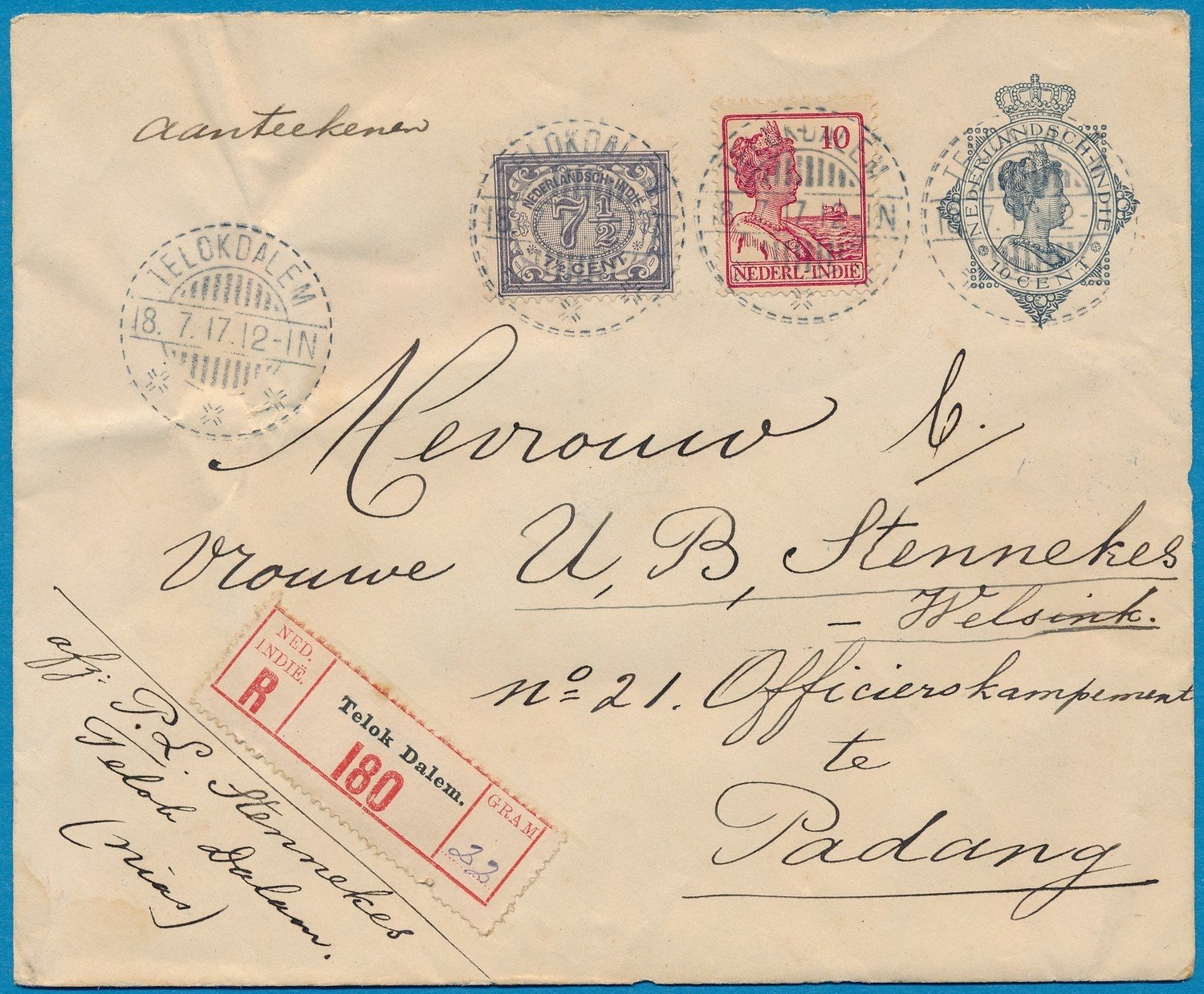 NETHERLANDS EAST INDIES R envelope 1917 Telokdalem