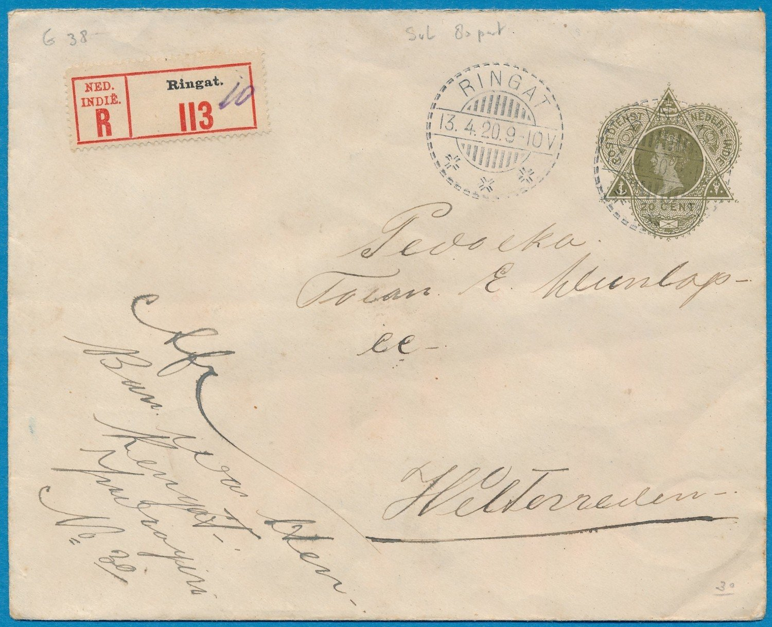 NETHERLANDS EAST INDIES R envelope 1920 Ringatt