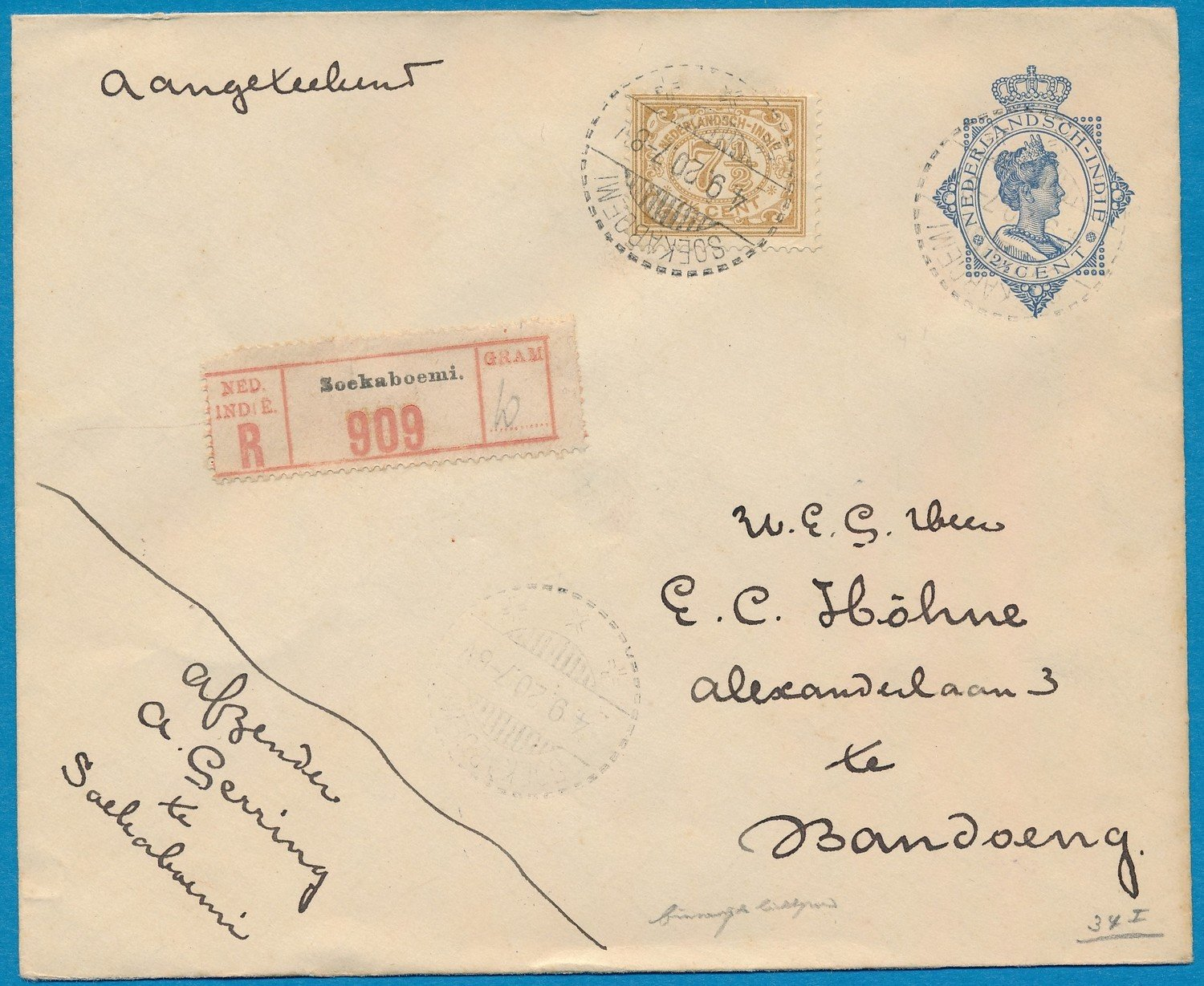 NETHERLANDS EAST INDIES R envelope 1920 Soekaboemi