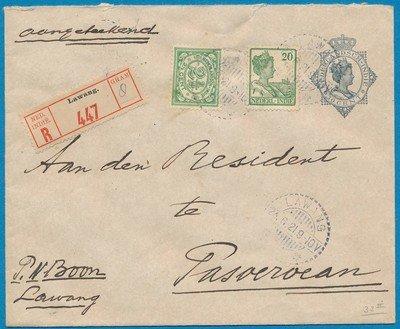 NETHERLANDS EAST INDIES R envelope 1921 Lawang